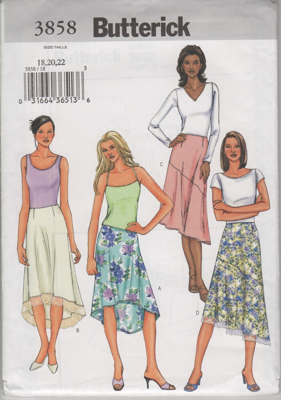 Butterick 3858 Misses' Skirt Sewing Pattern, Sizes 18-22