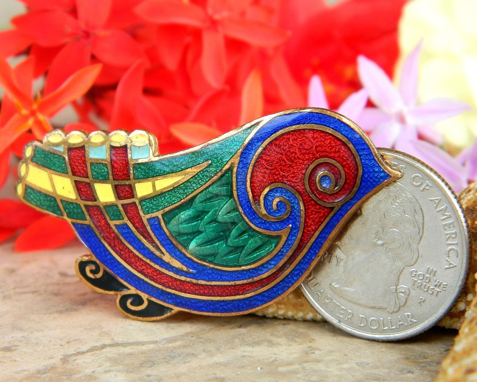 Vintage Tara Ware Bird Brooch Pin Celtic Irish Multi Color Enamel