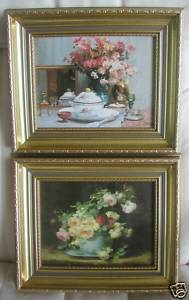 Set 2 prints oil FLOWERS gold ornate wood frames 10x12 each new