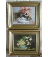 Set 2 prints oil FLOWERS gold ornate wood frames 10x12 each new - $30.00