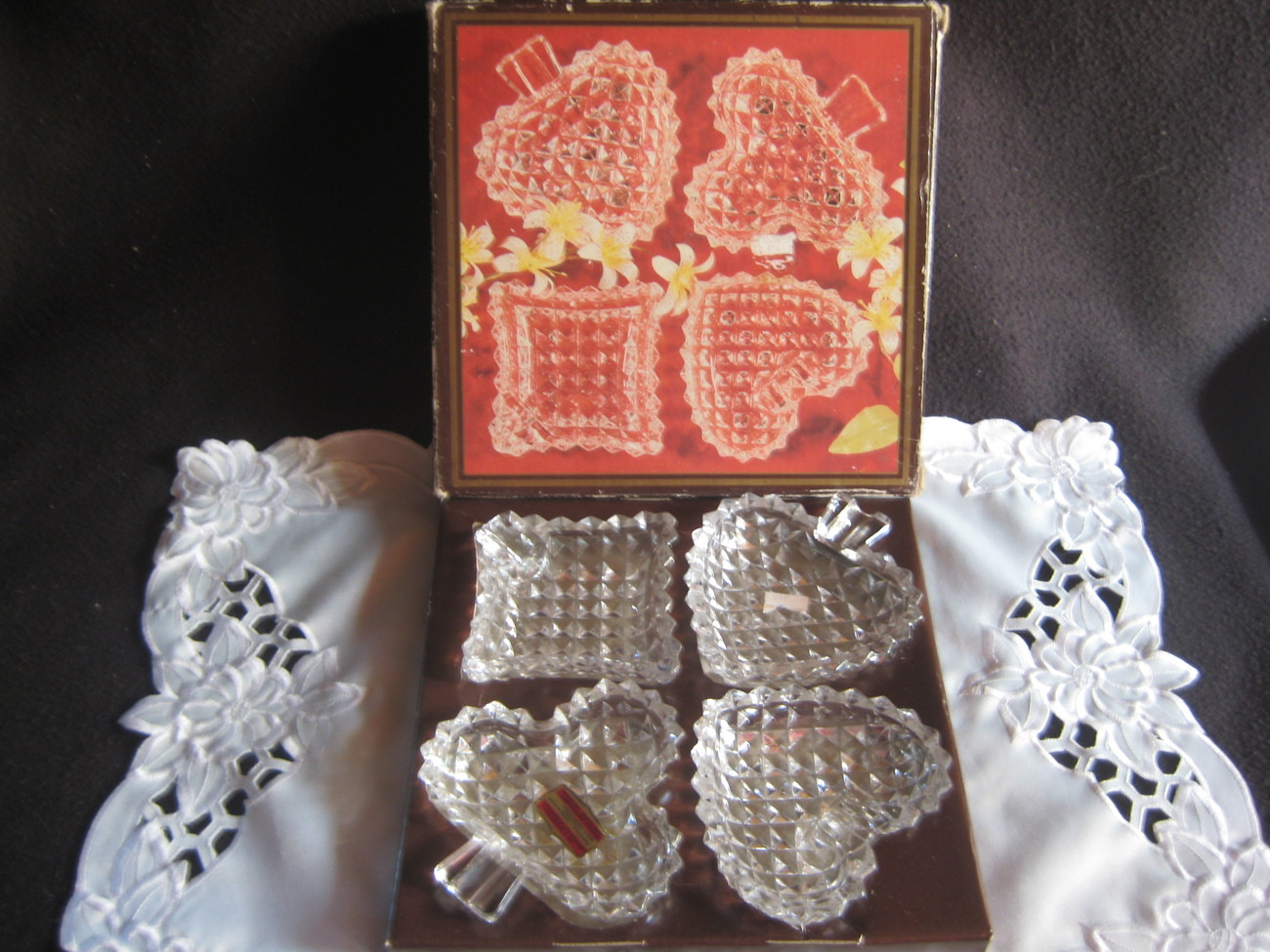 Vintage Lead Crystal Ashtray set of 4 NIB