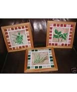 set 3 handmade 7x7 each mosaic tiles plaque trivet herbs kitchen decor - $21.00