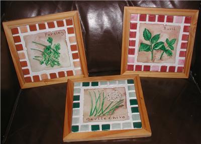set 3 handmade 7x7 each mosaic tiles plaque trivet herbs kitchen decor