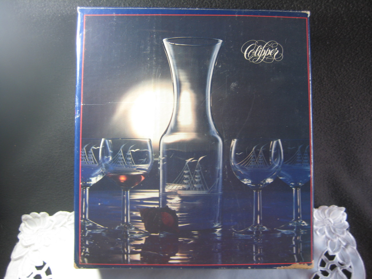 Clipper Carafe & Wine Glass set In Box