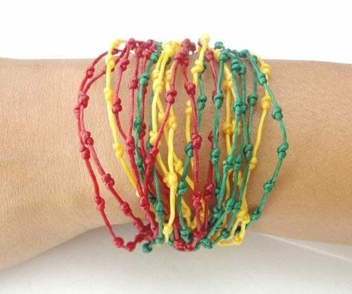 Handcrafted Rasta Knot Design Wax Cotton FAIR TRADE Womens BRACELET Wristband