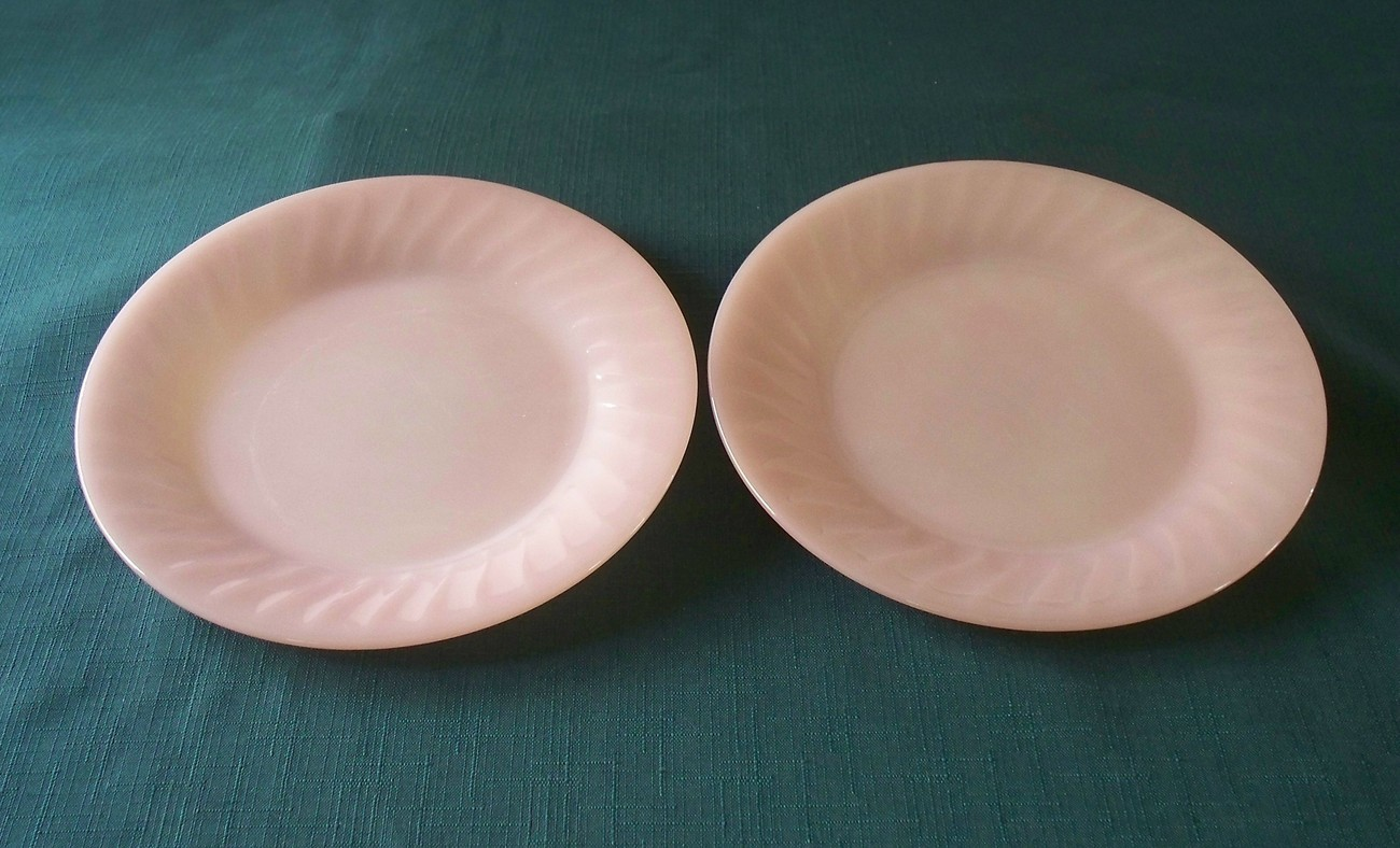 "Fire King Pink Swirl Dessert Plates 7 3/4"" VGC Set Of Two"