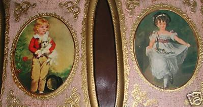 Primary image for Norleans Italy handcrafted set 2 prints gold wood frames Victorian boy girl