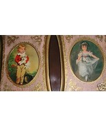 Norleans Italy handcrafted set 2 prints gold wood frames Victorian boy g... - $10.00
