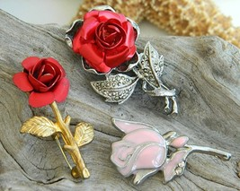 Vintage Red Pink Rose Enamel Marcasite Brooch Pin Stem Lot 3 - $24.95