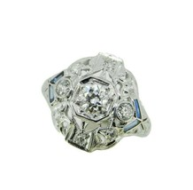 Art Deco Platinum Filigree .53ct Diamond Ring w/ Synthetic Sapphires (#J... - $1,825.00