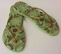 Havaianas Shoes Sandals Gold Green Flip Flops Slim Season Brazil Womens ... - $29.66