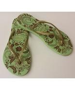 Havaianas Womens Flip Flops Shoes Sandals Gold Green Slim Season Brazil ... - $29.65