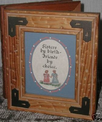 Primary image for Hand Made Rustic Wooden Box Glass Metal Photo Heirloom SISTERS theme New