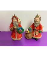2 Vintage Christmas Ornaments Santa St Nicholas Toy Sack Wreath Bell Pre... - $6.79