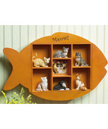 Fish Shape Shadow Box Wooden Wall Display Shelf - $18.95