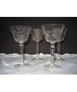 Vintage Crystal CLear Etched Cordial Glasses - $29.00