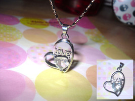 Heart Rhinestone Pendant Necklace - $5.00