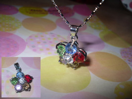 Flower Rhinestone Pendant Necklace - $5.00