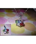 Flower Rhinestone Pendant Necklace - $5.00