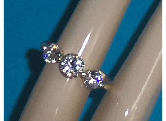 3 CZ Simulated Diamond Ring Size 8-1/2 Sterling Silver