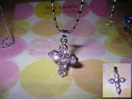 Cross Rhinestone Pendant Necklace - $5.00
