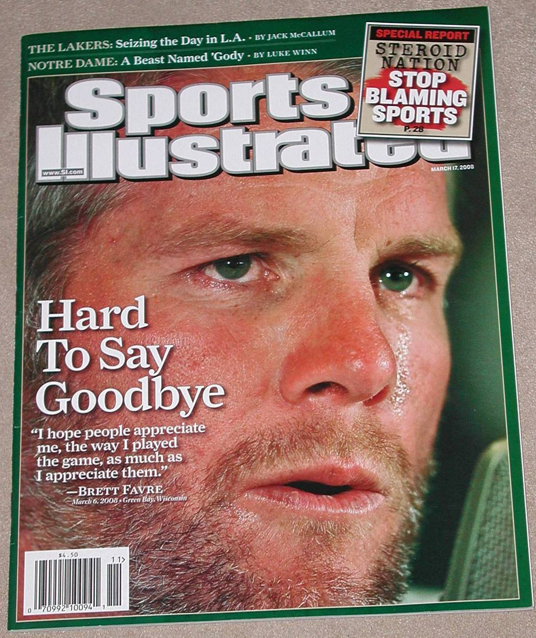 Primary image for Sports Illustrated Magazine BRETT FAVRE Hard To Say Goodbye