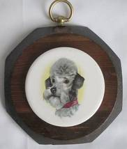 """Jerry Schultz 6"""" Wood Octagon Plaque Ceramic Art Tile DOG Poodle Vintage - $11.00"""