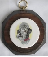 Jerry Schultz Wood Octagon Plaque Ceramic Art Tile DOG Medallion Vintage... - $5.00