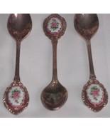 Set 3 silver plate collectible teaspoon ceramic medallions ornate souven... - $9.99