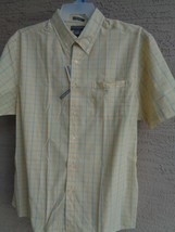 NWT MENS SADDLEBRED S/S CASUAL EASY CARE CASUAL YELLOW WINDOWPANE  SHIRT XL - $13.09