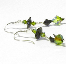 Olive Green & Black Swarovski Crystal Flower Da... - $21.95