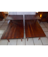 Pair Solid Walnut Mid Century Step End Tables / Side Tables by Bissman - $799.00