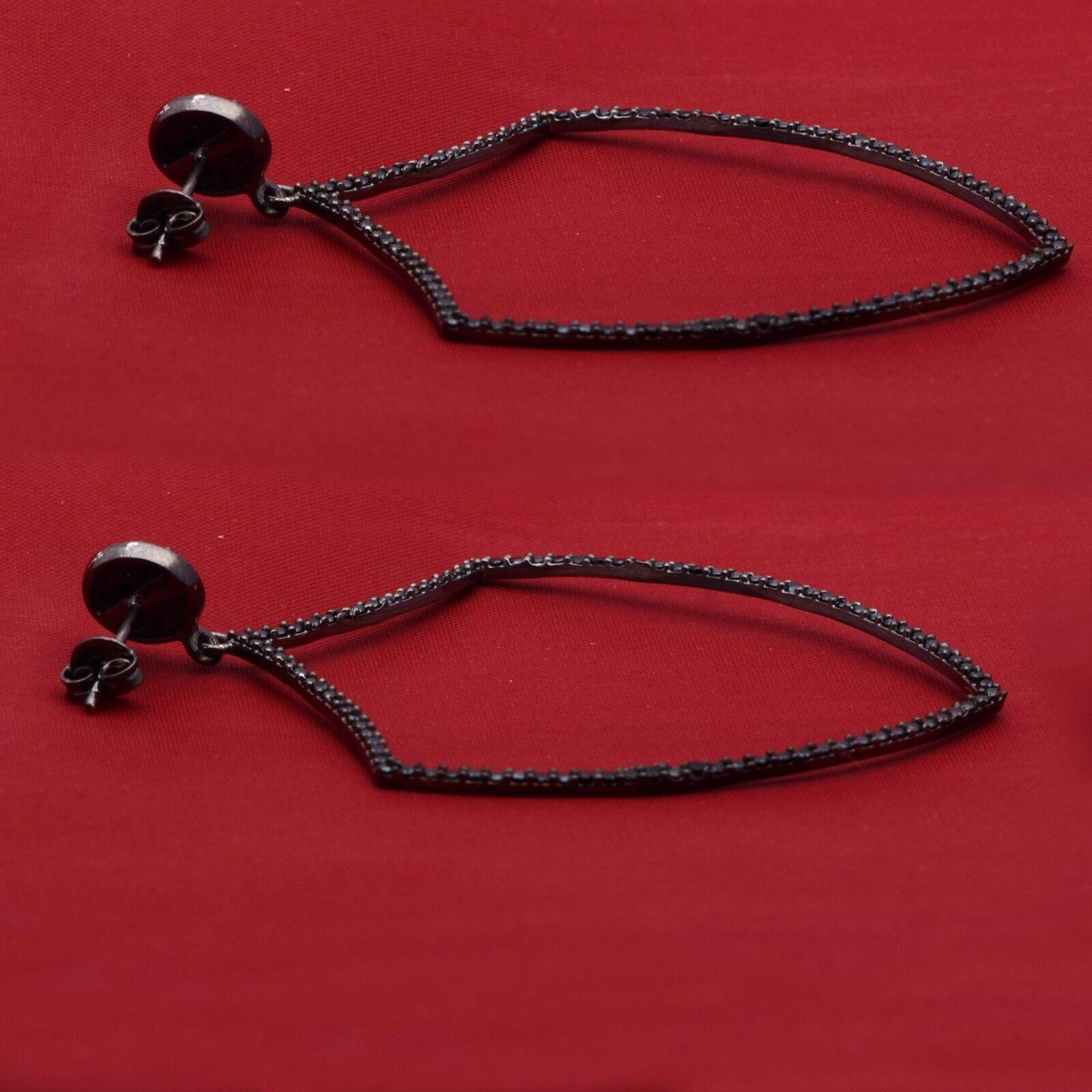Lovely Black Spinel Gemstone 925 Sterling Silver Dangle Earring Shine Jewelry