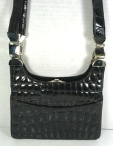 Glen Miller for Ann Turk Vintage Black Reptile Print Shoulder Bag – Made... - $48.49