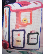COLORFUL BACK TO SCHOOL BACKPACK CROCHET PATTERN BUS PENCIL CASE APPLE B... - $2.99