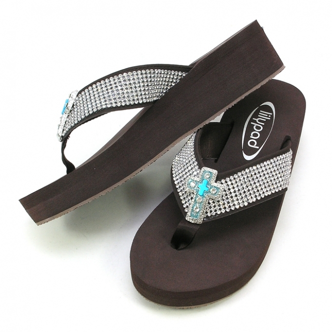 Primary image for LILYPAD FLIPFLOP BLING 8 ROWS OF CRYSTAL &  CROSS-TURQ  CONCHO SIZES 6,7,8,9,10,