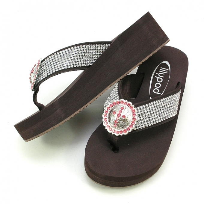Primary image for LILYPAD FLIPFLOP BLING 8 ROWS OF CRYSTAL &  ROUND-CROSS CONCHO SIZES 6,7,8,9,10,