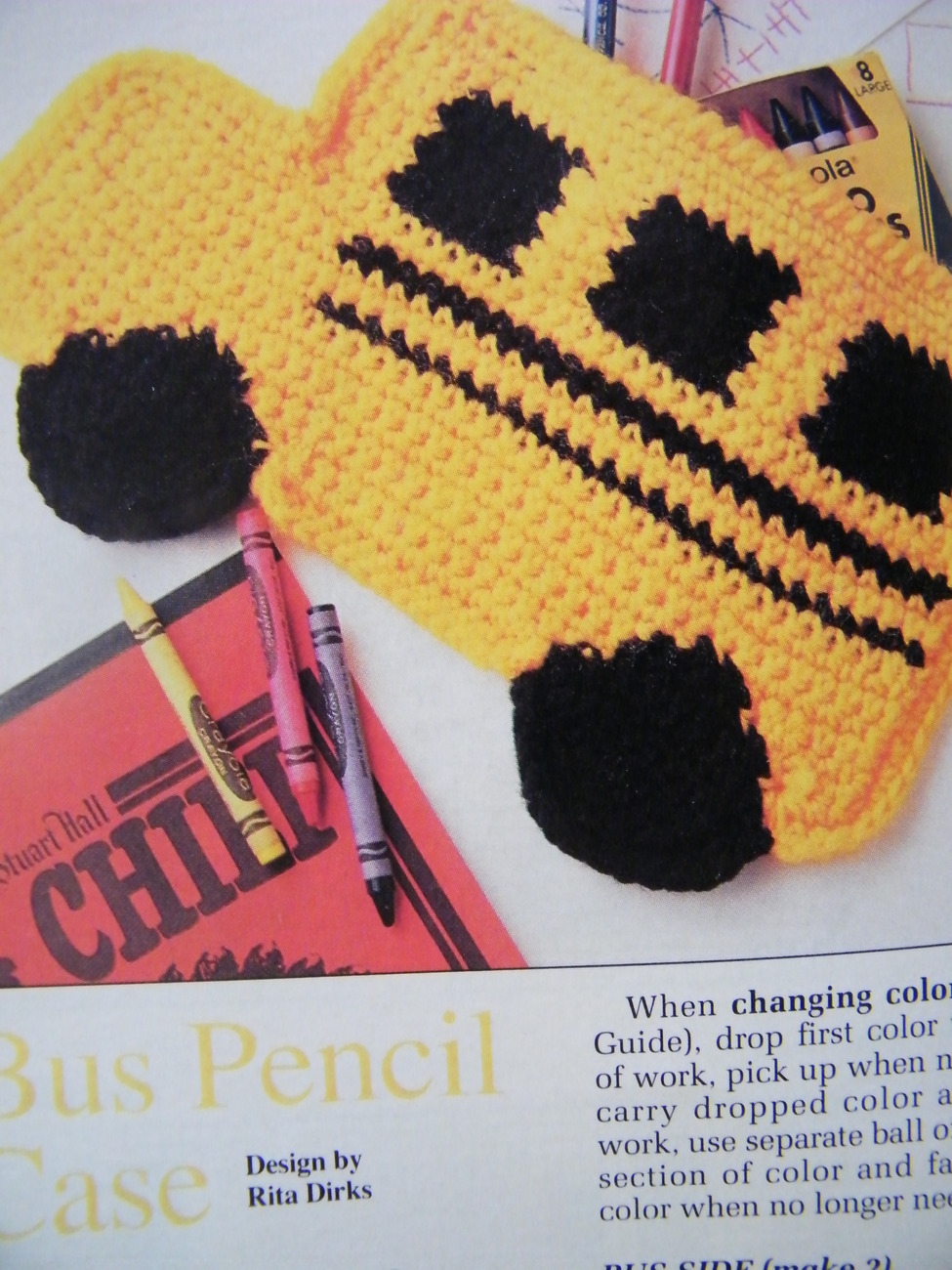 COLORFUL BACK TO SCHOOL BACKPACK CROCHET PATTERN BUS PENCIL CASE APPLE BOOKMARK