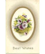 Best Wishes Vintage Greetings Post Card - $3.00