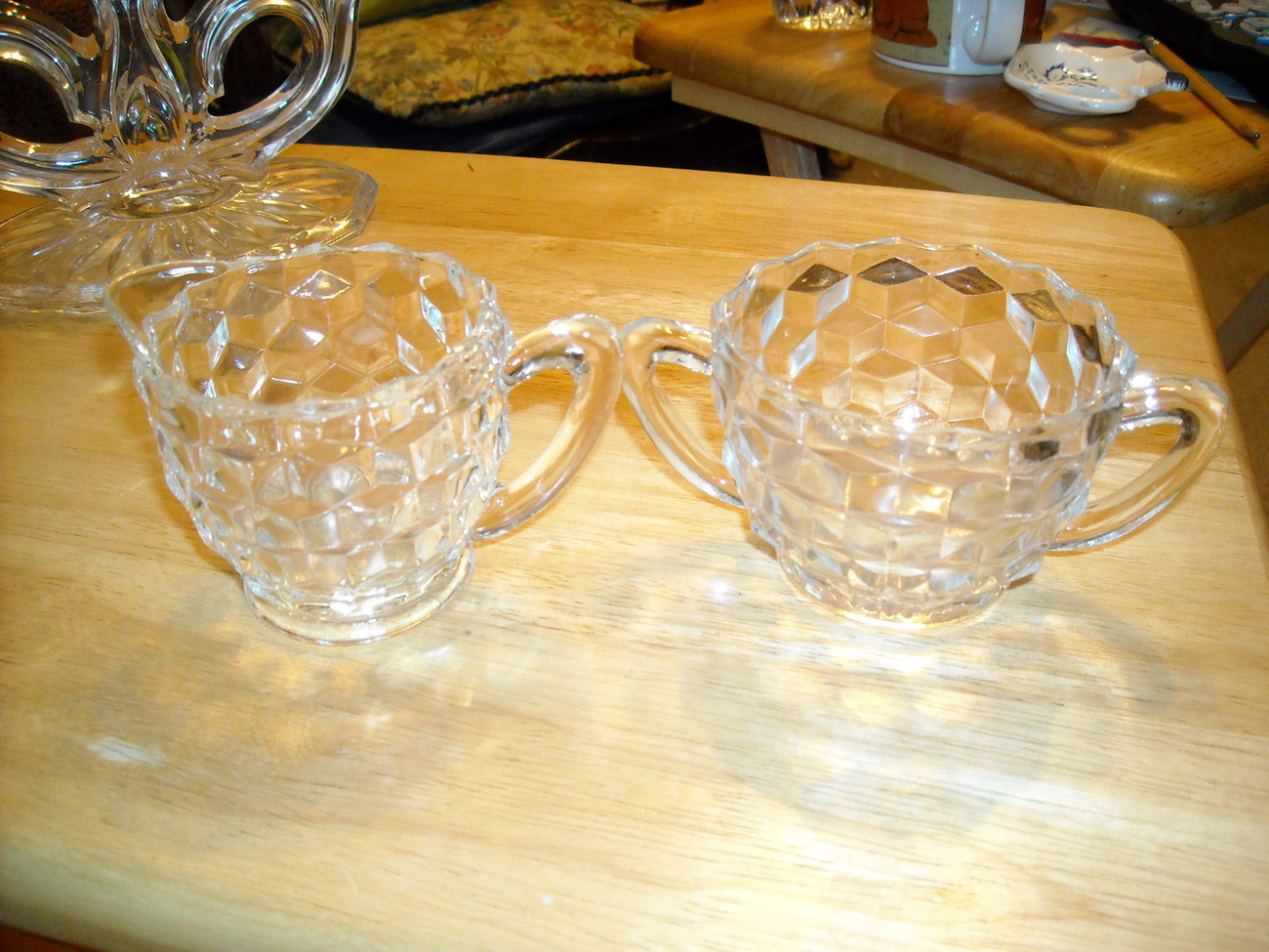 Jeannette cubist creamer and sugar bowl
