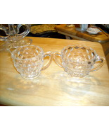 Jeanette Clear Cubist Creamer and Sugar Bowl Set - $15.00