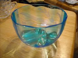 Beautiful Blue Glass Bowl - $12.00