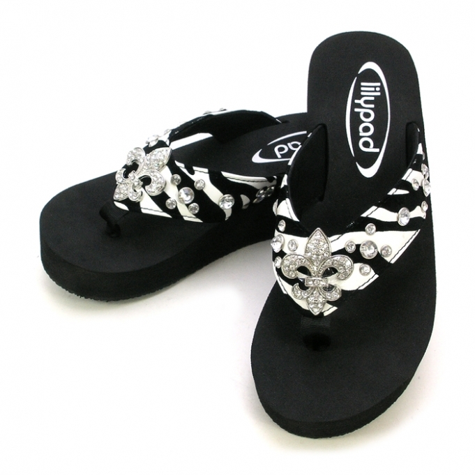 Primary image for LILYPAD FLIPFLOP BLING ZEBRA STYLE/FLEUR DE LIS CONCHO SIZES 6,7,8,9,10,11 BLACK
