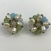 Vintage Beaded Faux Pearl Cluster Clip On Earrings Light Pink Translucent Blue - $12.58