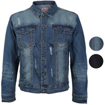 CS Men's Classic Distressed Ripped Destroyed Stretch Denim Jean Jacket image 1