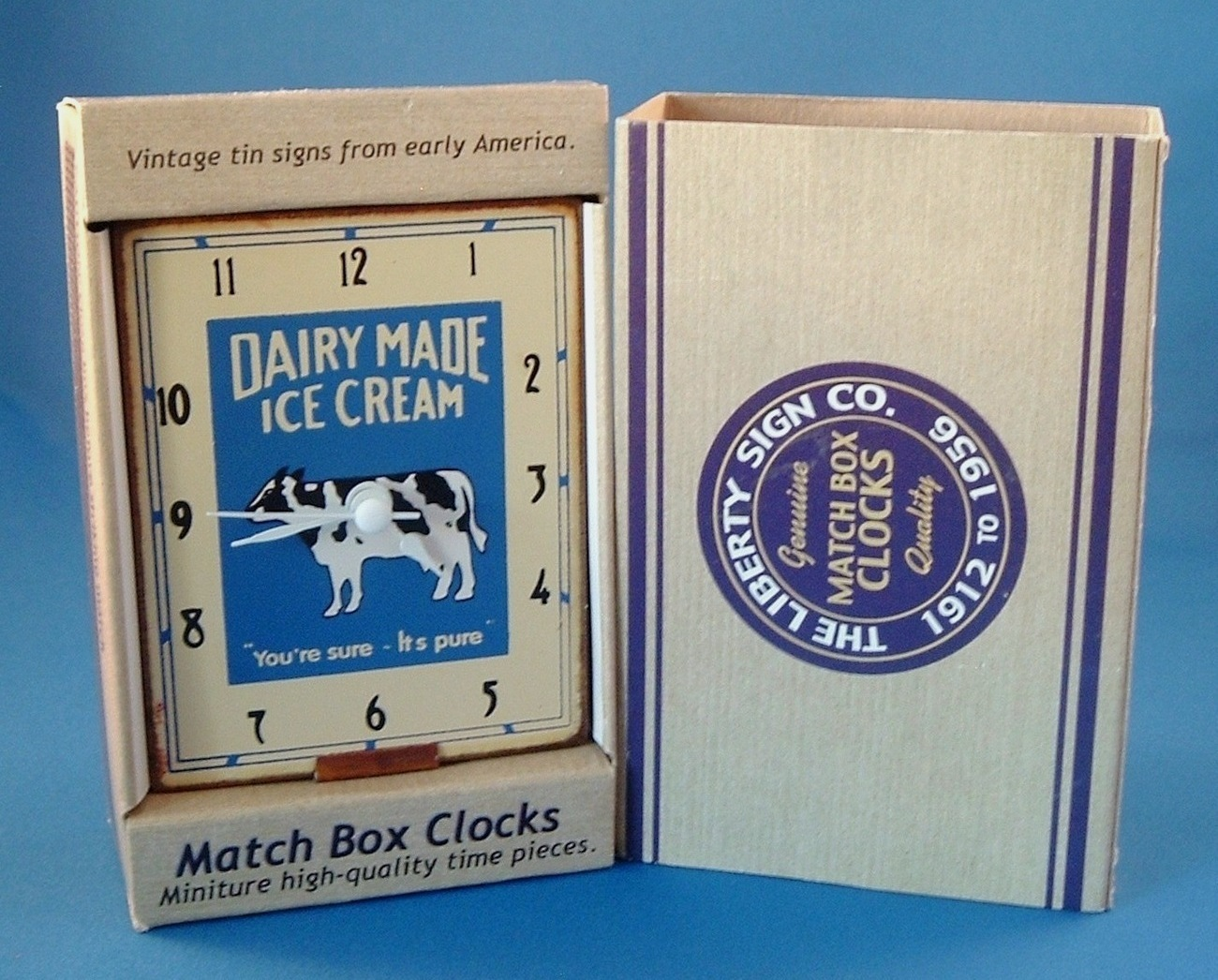 Match Box Miniature Clock Dairy Made Ice Cream Cow Hand Made
