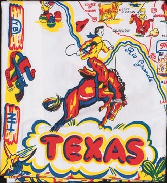 Vintage Style MAP OF TEXAS Cowboy Country Napkins ~ Set of 4