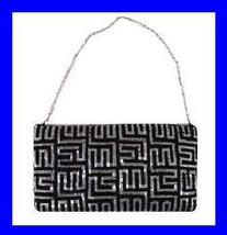 Black & Silver Beaded 16 inch Chain Strap Evening Bag Purse  - $19.99