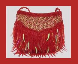 Red Beaded Sequins Satin 17inch Cord Strap Evening Bag Purse - $19.99