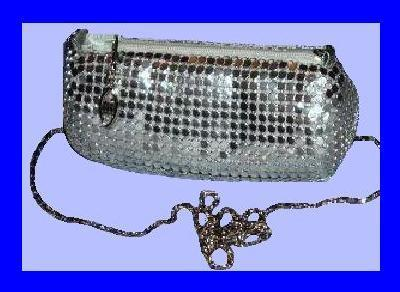 Silver Metallic Mesh 54inch Silver Chain Evening Bag Purse